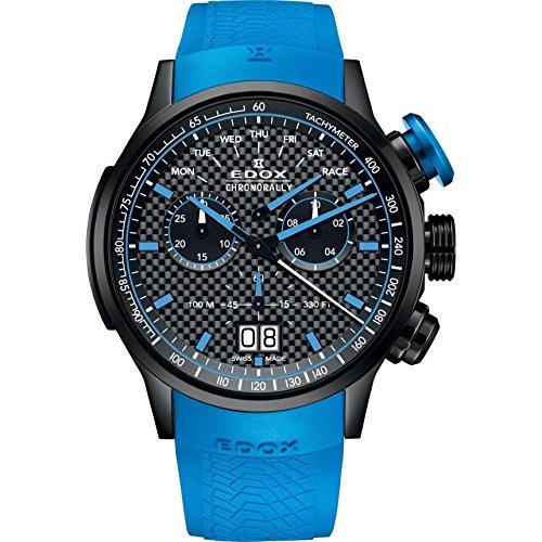 Edox Men's Chronorally Stainless Steel Swiss-Quartz Sport Watch with Rubber Strap, Black, 25 (Model: 38001 TINN1 NIBU1