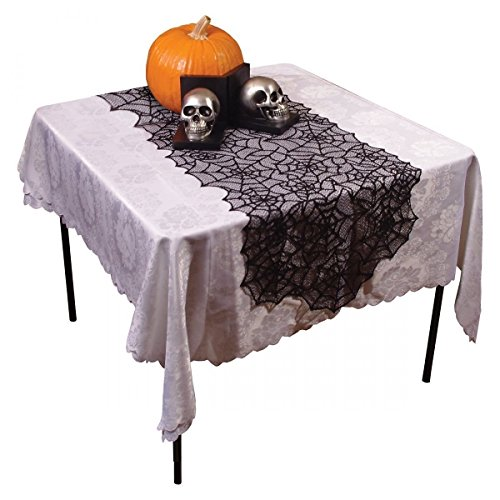 Aquiver Cobweb Fireplace,Spider Web Lace Halloween Tablecloth Party Decor Gothic Cob Web Tablecover Black 50203cm