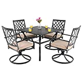 "PHI VILLA Outdoor Patio Furniture 5 Piece Dining Set with 37"" Larger Dining Table and 4 Rocker Swivel Arm Chairs"
