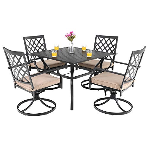 PHI VILLA Outdoor Patio Furniture 5 Piece Dining Set with 37 Larger Dining Table and 4 Rocker Swivel Arm Chairs