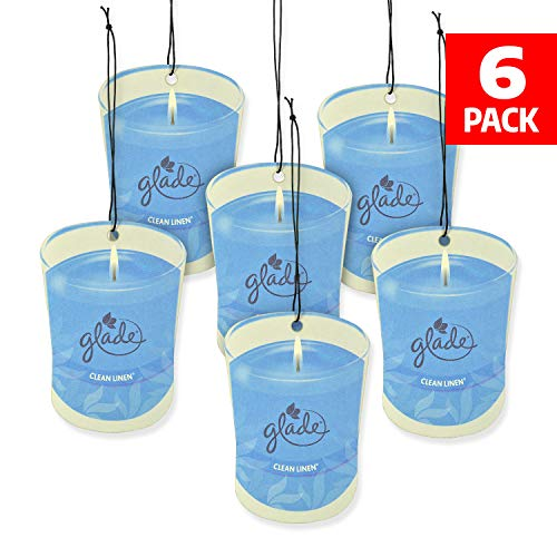 Glade Car Air Freshener 6-Pack Candle Design Glade Air Freshener (Clean Linen)