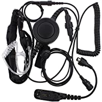 Tenq Professional Tactique Military Police FBI Bodyguard Forehead/throat Mic Microphone Large Armpit PTT Covert Acoustic Tube Earpiece Headset with Finger PTT for Motorola Xpr6500 Xpr6550 Xpr6580 Apx7000 Apx6000 Radio