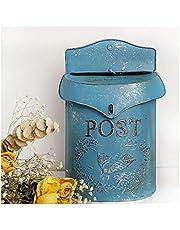 European Retro Mailbox Wall-Mounted Lockable Security Mailbox Vintage Metal Decoration Postbox for Villa Porch Garden