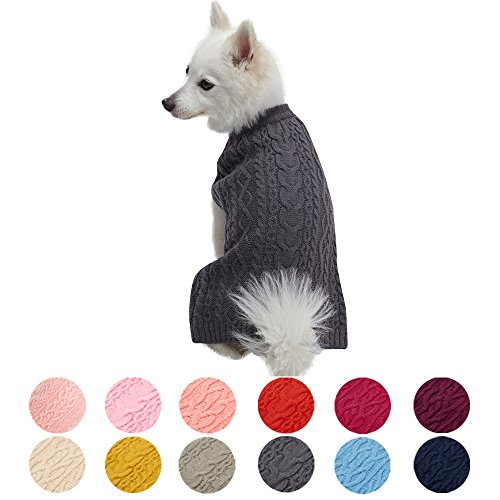"""Blueberry Pet 13 Colors Classic Wool Blend Cable Knit Pullover Dog Sweater in Smoke Grey, Back Length 20"""", Pack of 1 Clothes for Dogs"""
