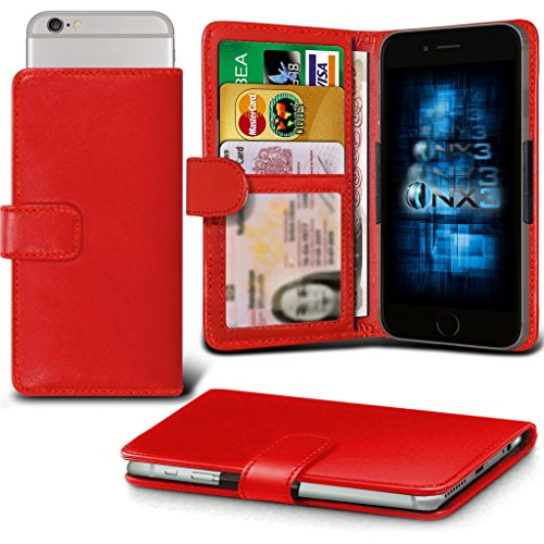 (Red) QMobile Noir X700 Adjustable Spring Wallet ID Card Holder Case Cover (X700 Lcd)