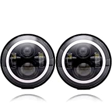 AUSI Black 7Inch Round Led Headlight Halo Angel Eye Ring DRL Amber Turn Signal Lights Fit 97-15 Jeep Wrangler TJ JK LJ CJ Hummer H1 H2 MACK R Peterbilt Kenworth Freightliner Harley Davidson 60W
