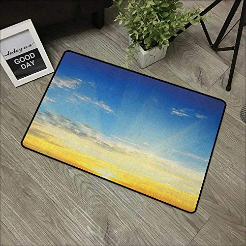 (Floor mat W35 x L47 INCH Sky,Sun Rays Above The Horizon Sunset Clouds Seasonal Scenic Beauty of The World Picture, Blue Yellow Non-Slip, with Non-Slip Backing,Non-Slip Door Mat)