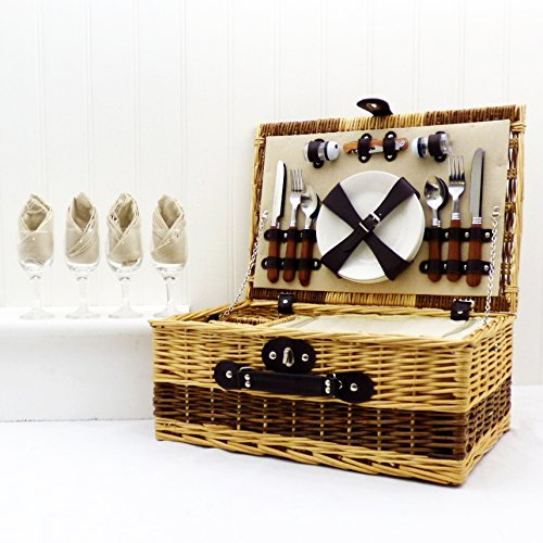 Buxton 4 Person Wicker Picnic Basket Set - Gift ideas for Christmas presents, Birthday, Wedding gifts, Anniversary by Picnic Basket Specialists