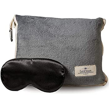 CoziCrown Premium Soft Coral Fleece Travel Blanket in Soft Bag with Zipper Pocket, Luggage Handle Loop and Carabiner Clip. Great for Train, Car, Airplane Travel in Grey Color Bonus:Sleep Eye Mask