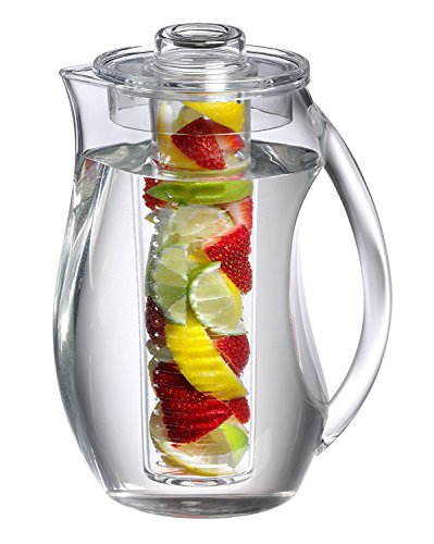 Jumbl Tea Infuser Water Pitcher. Plastic Pitchers with spill proof Lid & Removable Infusion Insert For Kool Aid, Juice, Iced Tea, Lemon Water, Crystal Clear Shatterproof Acrylic, 2 Liter (Plastic Dispenser Tea)