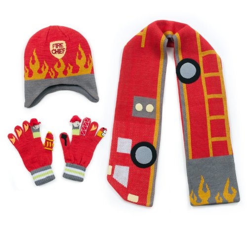 Kidorable Red Fireman Soft Hat/Scarf/Glove Set for Boys w/Fun Flames Truck and Hydrant Ages 3-5