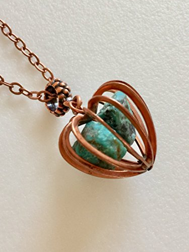 Turquoise Cage Necklace, Raw Turquoise Nuggets, December Birthstone, Vintage Copper Cage Pendant, Genuine Turquoise, Large Gemstone Cage.