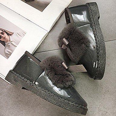Inverno Moda Arrossendo UK4 5 Casual EU37 Bowknot Per Stivali Scarpe Di Grigio Punta Il 7 5 Pu Tacco US6 Stivali Comfort Donna Rotondo Piatto 5 Nero RTRY CN37 Rosa XtqAx