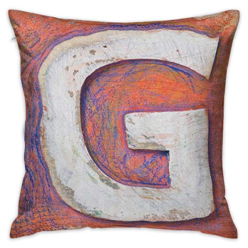 Letter G Square Kids Pillowcase Worn Looking Background with Grunge Uppercase G Plank Natural Print Salmon Violet Blue White Cushion Cases Pillowcases for Sofa Bedroom Car W17.7 x L17.7