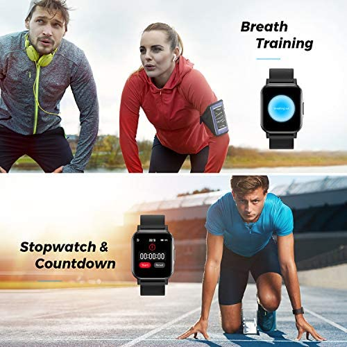 SoundPEATS Watch 1 Smart Sports Watch Health and Fitness Tracker with Heart Rate Monitor Sleep Quality Tracker IP68 Waterproof 1.4″ Color Touch Screen Call & Message Reminder 12 Sports Modes 510ImKesTkL