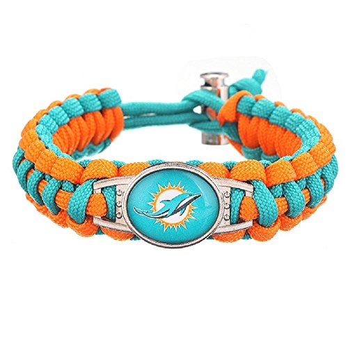 Swamp Fox Premium Style Miami Dolphins Football Team Adjustable Paracord Bracelet (Miami Dolphins Womens Stainless Steel)