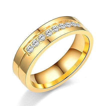 b6c455bea4 Sinwo Women Men Simple Couple Band Titanium Steel Ring with Diamond Ring  Jewelry Gift (Gold