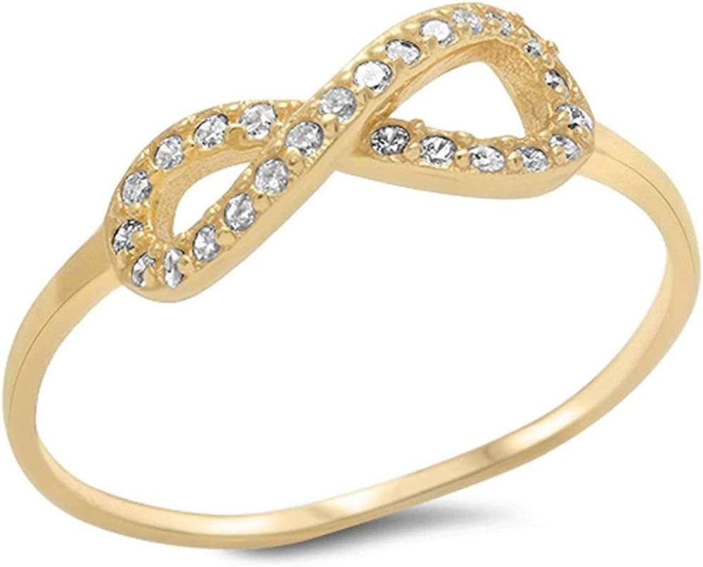 Brightt Yellow Gold Plated Cz Infinity .925 Sterling Silver Ring Sizes 5-10