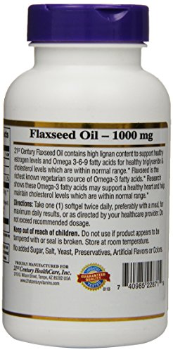 21st Century Flaxseed Oil 1000 mg Softgels, 120 Count by 21st Century (Image #3)
