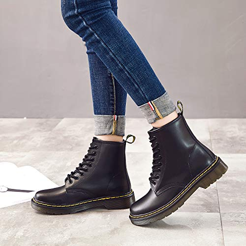 Resonda Women Fashion Leather Ankle Bootie Casual lace up Short Combat Boots for Winter,Black,US 7.5/8