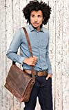 LEABAGS Oxford genuine buffalo leather messenger bag in vintage style - Rouge