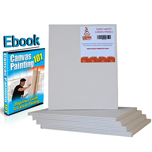 12 Bulk Pack 8x10 Blank Canvas Panels for Aspiring Artists, Students & Kids by Creative Art Haus for Acrylic & Oil Painting