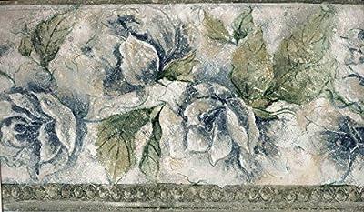 Green Leaf Blue Roses Wallpaper Border 76259 ED