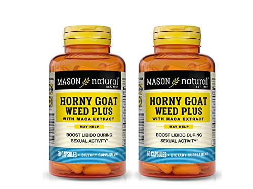 Mason Natural Horny Goat Weed Plus With Maca Extract 60 Capsules per Bottle Pack of 2 Bottles Total 120 Caps