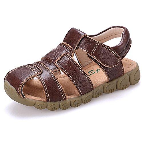 3STEAM Jungen Mädchen Sandalen Geschlossene Zehe beiläufige Outdoor-Sandale Brown