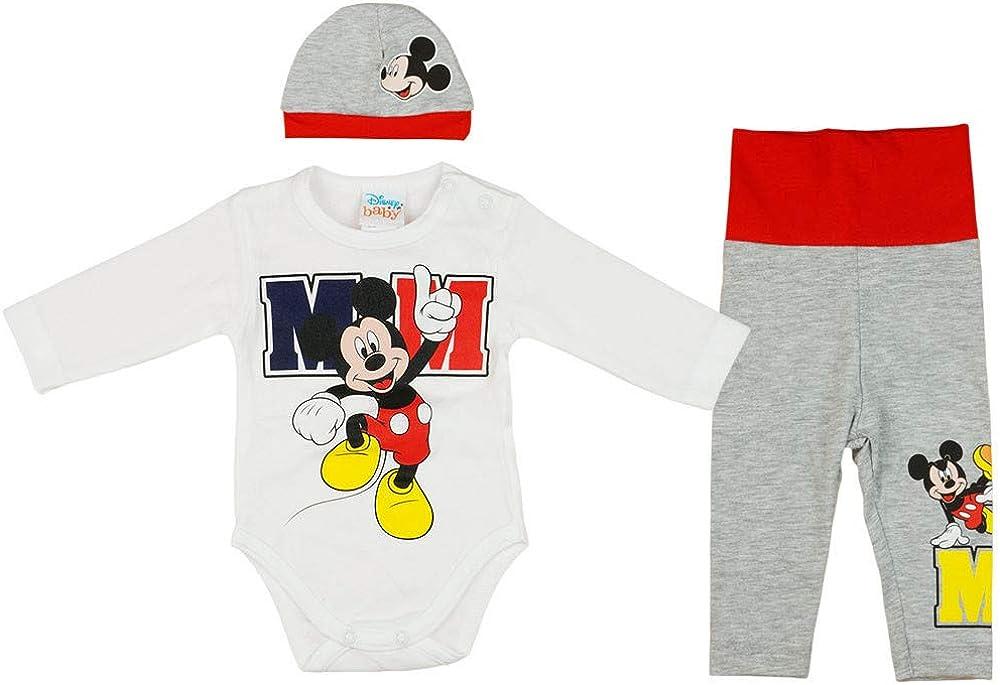 Kinder Mädchen Jungen Mickey Minnie Strampler Bodysuit Hose Hut 3tlg Outfits Set
