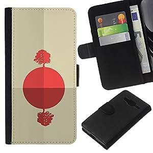 YiPhone /// Tirón de la caja Cartera de cuero con ranuras para tarjetas - Salida del sol africana abstracta - Samsung Galaxy Core Prime