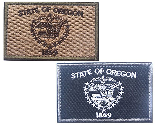 HFDA 2 piece OREGON Flag Patches Velcro Morale Patches Cloth