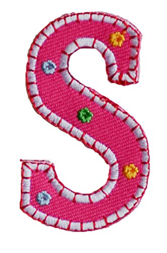 64e5ad7623f TrickyBoo Iron-On Letter Patch Craft Applique S Pink 9Cm Personalize Crafts  Jeans Clothing Fabric