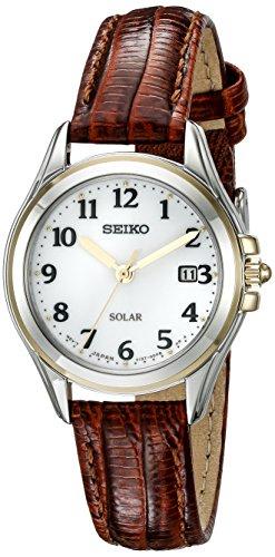 Solar Analog Display Japanese Quartz Brown Watch ()