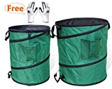 Gardzen 45 Gallon Pop Up Garden Bag with Extra 30 Gallon Bag - Come with Gloves - Heavy Duty Reusable Gardening Yard Lawn Leaf Waste Bag