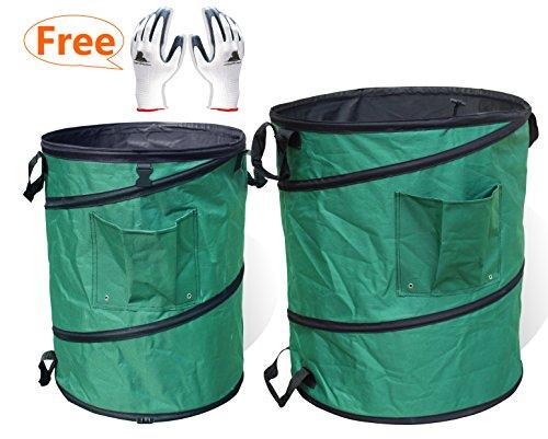 Gardzen 45 Gallon Pop Up Gardening Bag with Extra 30 Gallon Pop Up Gardening Bag - Reusable Pop-Up Yard Lawn Garden Leaf Waste Bag