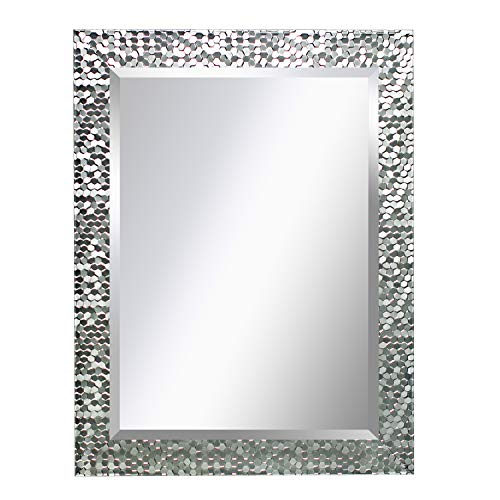 MIRROR TREND 24 x 32 Inches Silver Beveled Mirrors for Wall Mirrors for Living Room Large Bathroom Mirrors Wall Mounted Mosaic Design Mirror for Wall Decorative (Silver) (Wall Mirror Design Ideas)