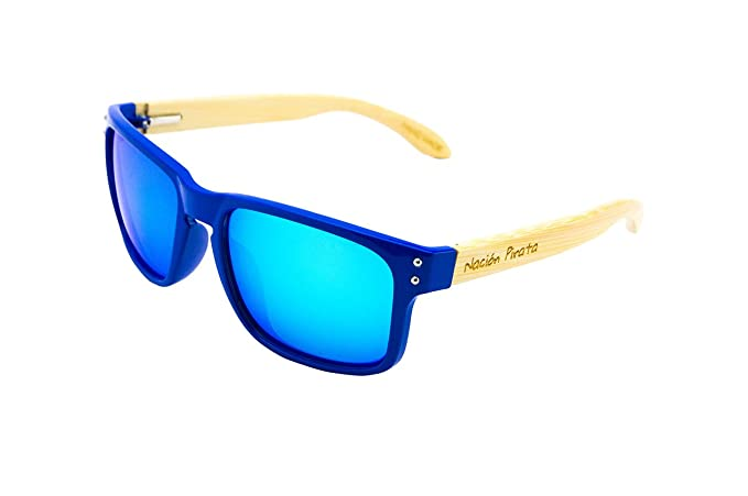 Nación Pirata - Gafas de Sol de Moda Patillas Madera Bambú y Policarbonato- Polarizadas,