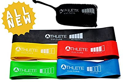 Ultra Premium Resistance Loop Bands Set for Exercise with 5 Levels of Strength - The Ultimate Workout for Men and Women of All Ages - Perfect for Crossfit Training, P90x, Insanity, Yoga, Pilates, Asylum, Beachbody, Physical Therapy, and Other Workouts - S