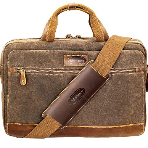 Manificent Men's Leather Briefcases Messenger Bag, 15.6 Inch Vintage Waxed Canvas Laptop Bag Attache Case,Waterproof Shoulder Bag, Brown