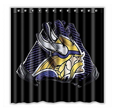 (Custom NFL Vikings Vapor Jet Glove Waterproof Bathroom Shower Curtain Polyester Fabric Shower Curtain Size 66 X 72)