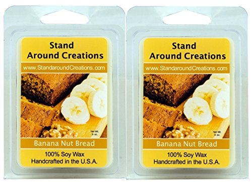100% All Natural Soy Wax Melt Tarts - Set Of 2 - Banana Nut Bread: The mouth-watering aroma of oven fresh banana bread. This delicious combination of walnuts, ripe banana, vanilla, and a touch of spice is sure to spark your appetite. - 3ozs/ea. - Naturally Strong Scented