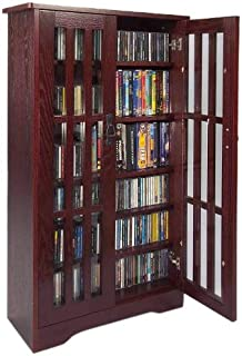 leslie dame m371dc inlaid glass mission style multimedia storage cabinet - Cabinet With Glass Doors