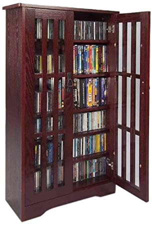 Leslie Dame M 371DC High Capacity Inlaid Glass Mission Style Multimedia  Storage Cabinet,