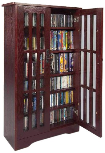 Leslie Dame M-371DC High-Capacity Inlaid Glass Mission Style Multimedia Storage Cabinet, Cherry - Glass Media Cabinets