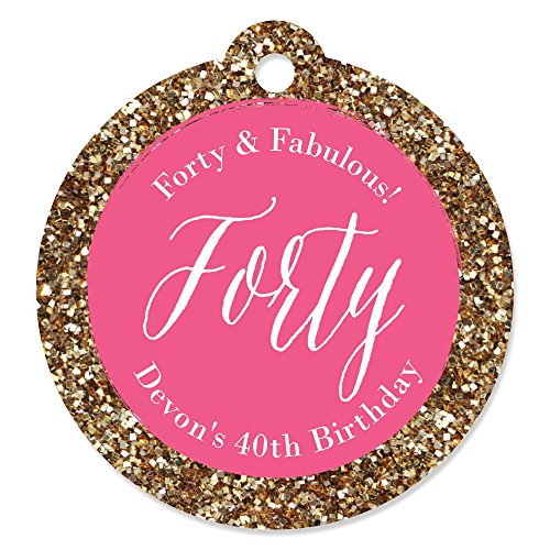 Custom Chic 40th Birthday - Pink and Gold - Personalized Birthday Party Favor Gift Tags - Set of 20