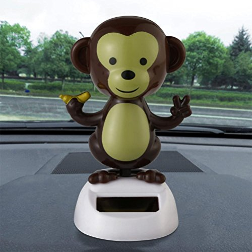Makaor Solar Powered Dancing Monkey For Halloween Gift Swinging Animated Bobble Dancer Toy For Car Party By (Size: 10cmx6cm, B) -