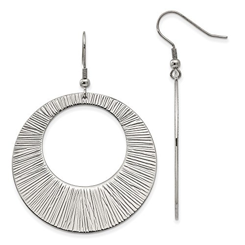 (Stainless Steel Textured Circle Dangle Earrings)