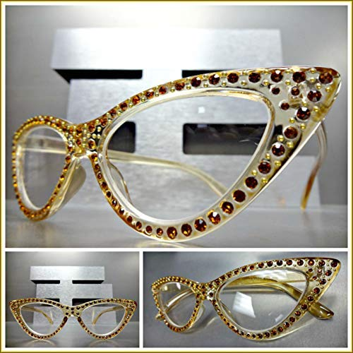 Womens Classy Elegant Retro CAT Eye Reading Eye Glasses Readers Bling Nude Frame (+1.50 Strength)