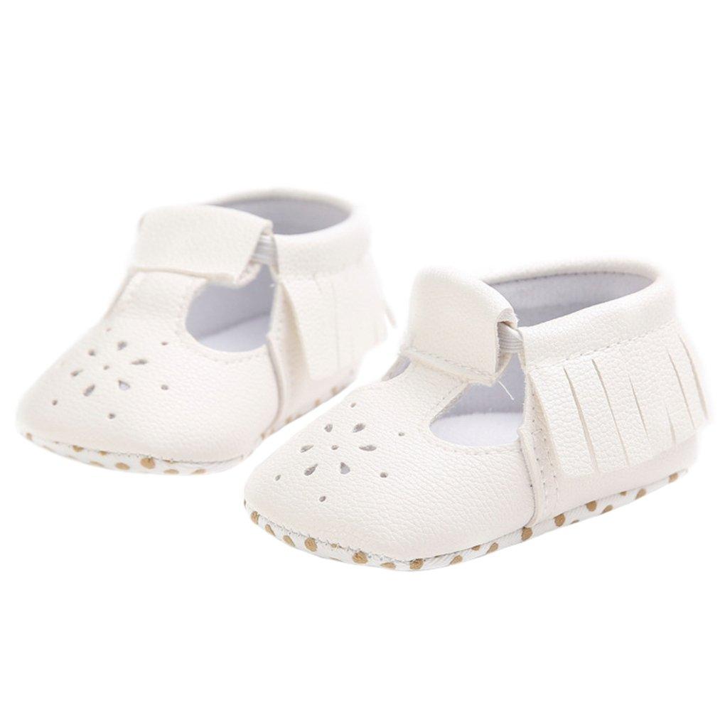 eca52bd026f58 lakiolins Baby Girls T-Straps Tassel Mary Jane Anti-Slip Walking ...
